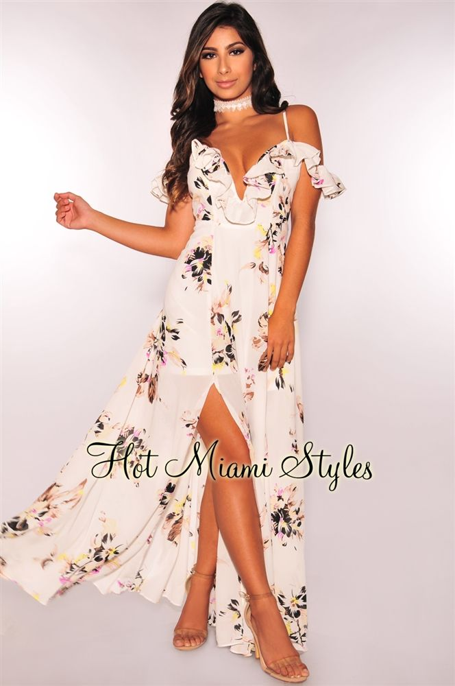 ec686b3b979 Off White Floral Plunging Off Shoulder Ruffle Maxi Dress in 2019 | I ...