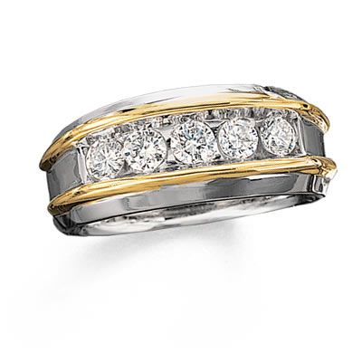 I Ve Tagged A Product On Zales Men S 1 Ct T W Diamond Five Stone Band In 10k Two Tone Gold