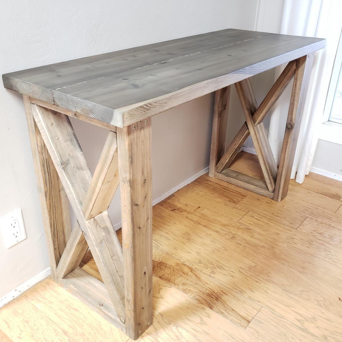Desk Featuring X Legs Farmhouse Style Ana White In 2020 Diy Wood Desk Diy Desk Plans Homemade Desk