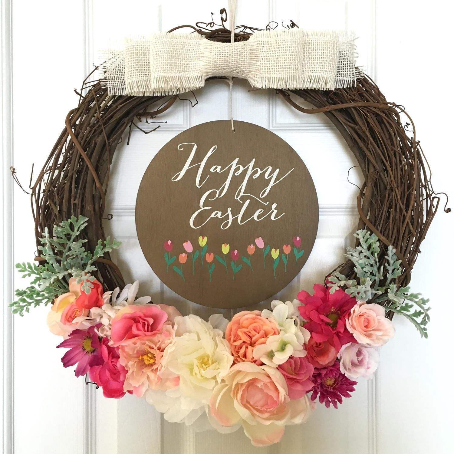 Easter Wreath 19 Inch Happy Modern Rustic Spring Door Nursery Teacher Summer Floral Flower By