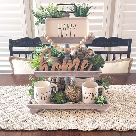 Lots of uses for tiered trays. Love the way this tiered tray is styled! #homedecor #tieredtray #homeaccents