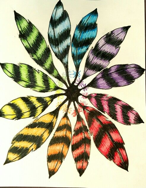 Color Wheel Feather Tangle 7th Grade Art Ed Central