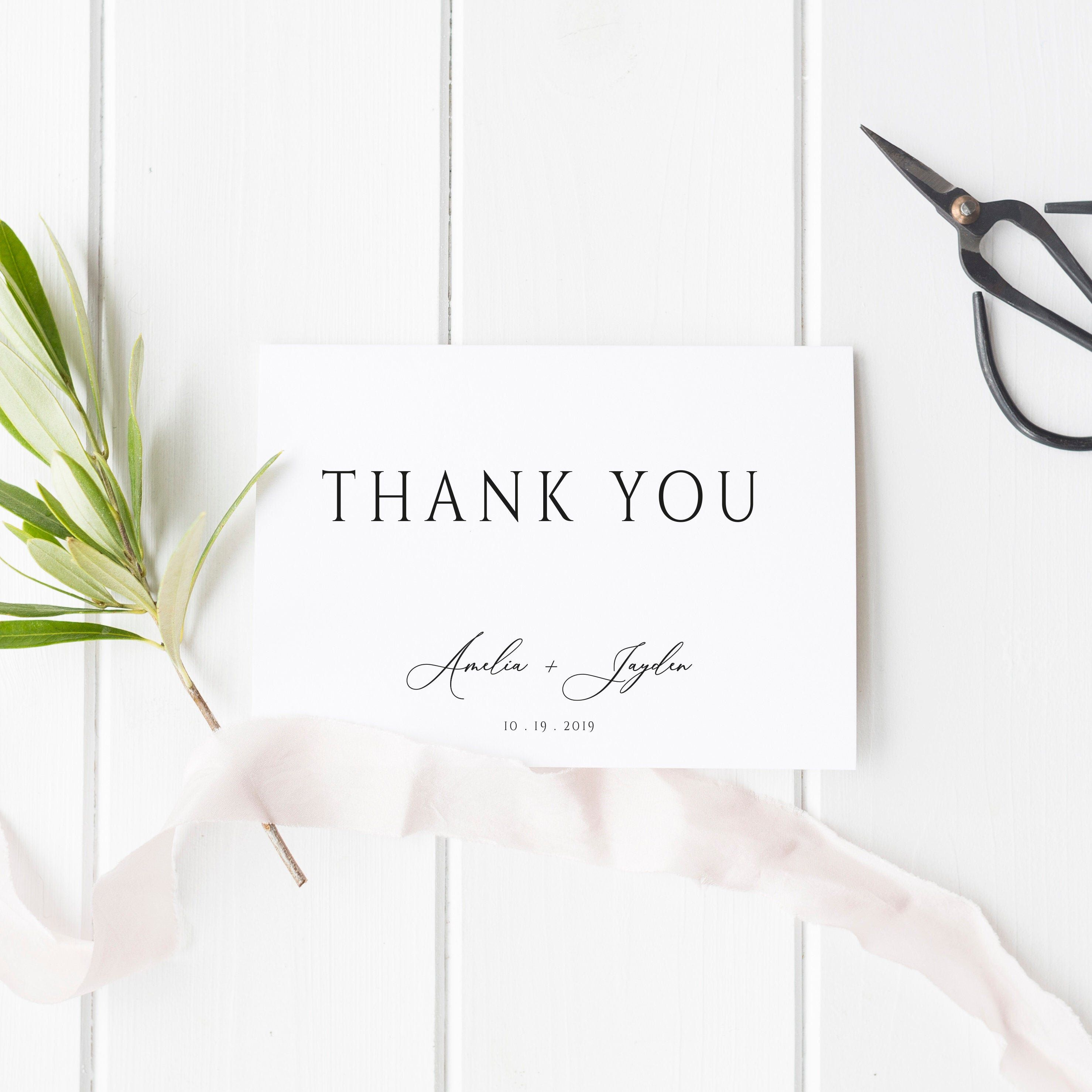 Personalised Thank You Cards Wedding Thank You Note Custom