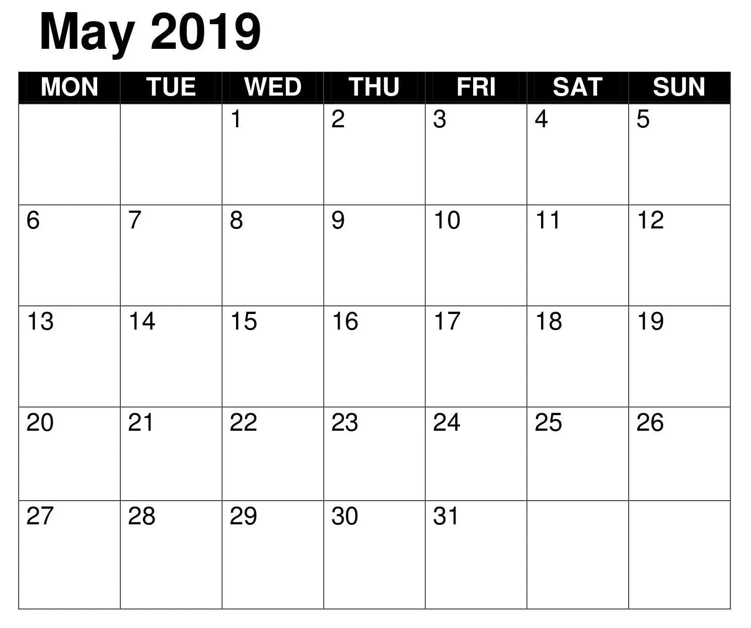 2019 Word Calendar Blank May Calendar 2019 Word | 150+ May 2019 Calendar | Excel