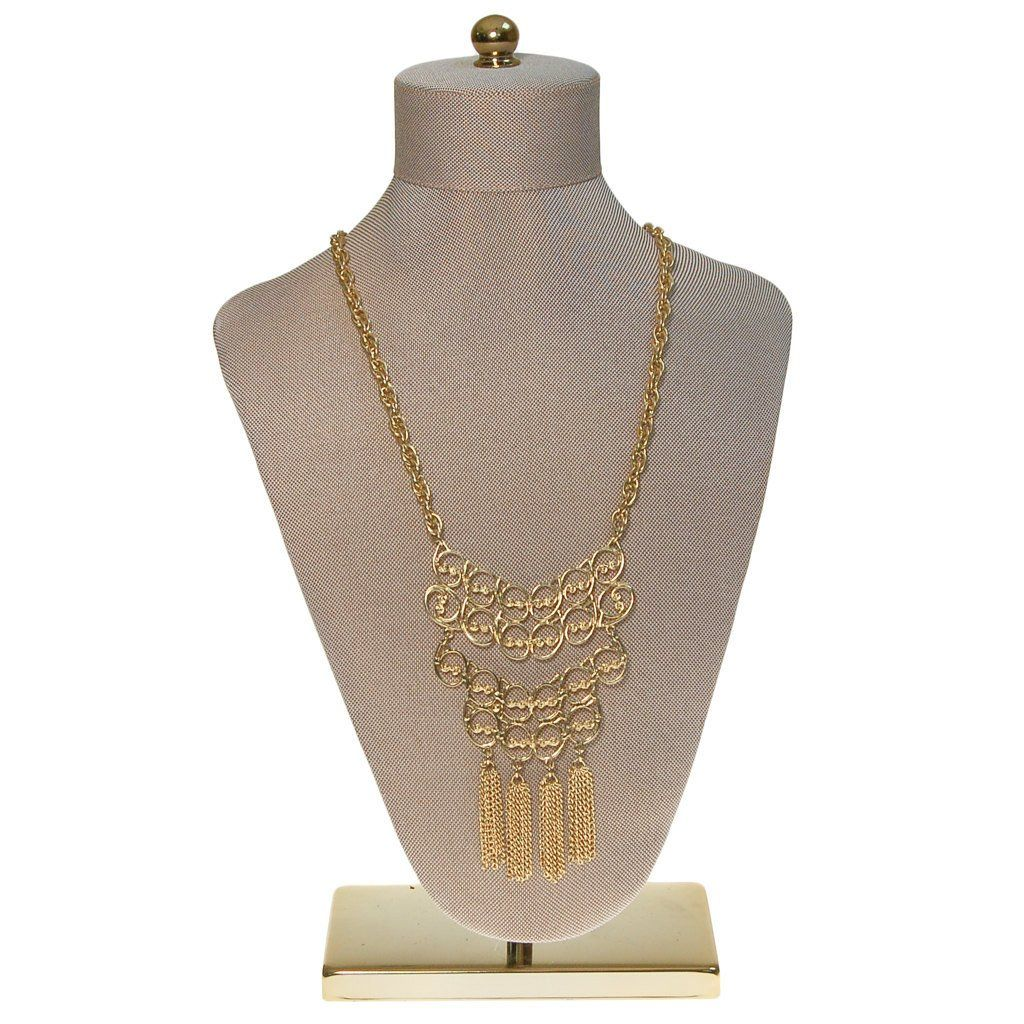1970s Gold Tassel Statement Necklace - Vintage Meet Modern  - 5