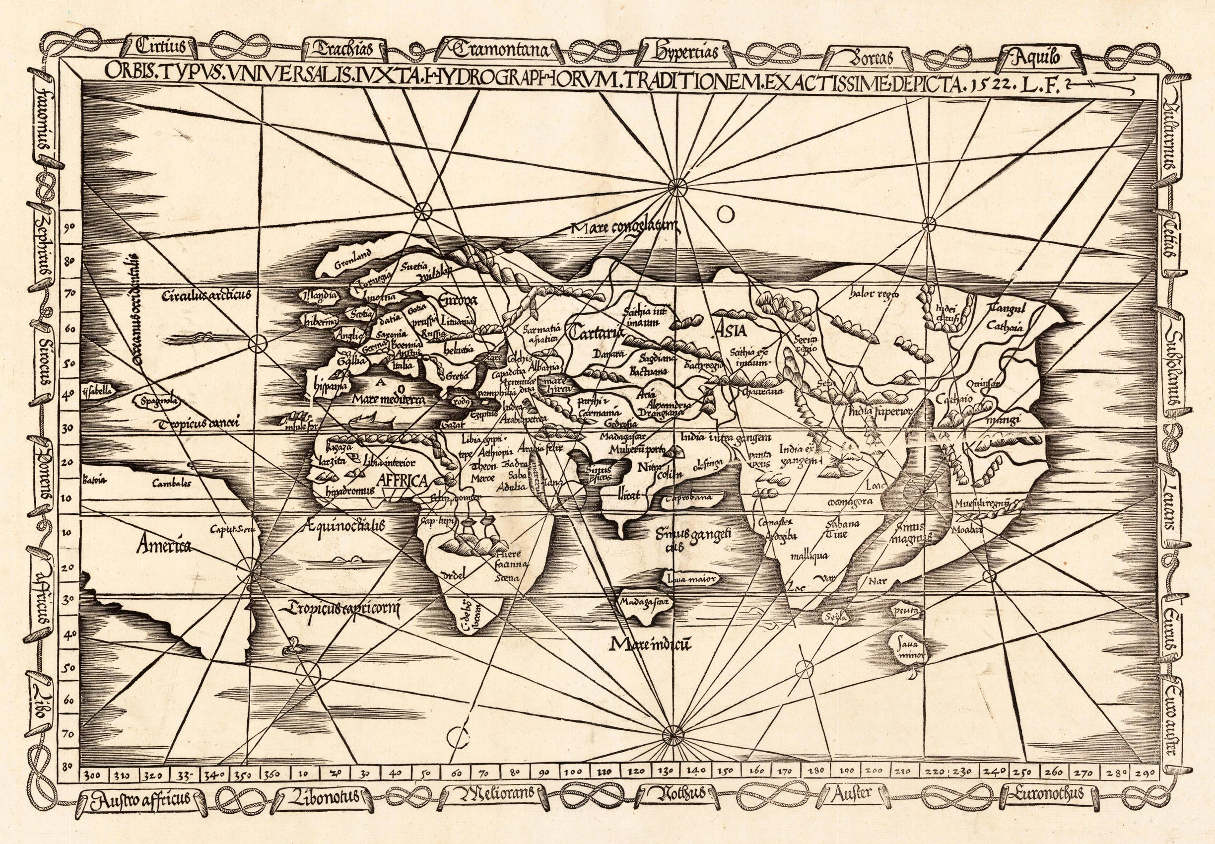 Early woodcut map of the world published in laurent fries antique mapart 1535 l fries orbis typus universalis iux antique map of australiaworld gumiabroncs Gallery