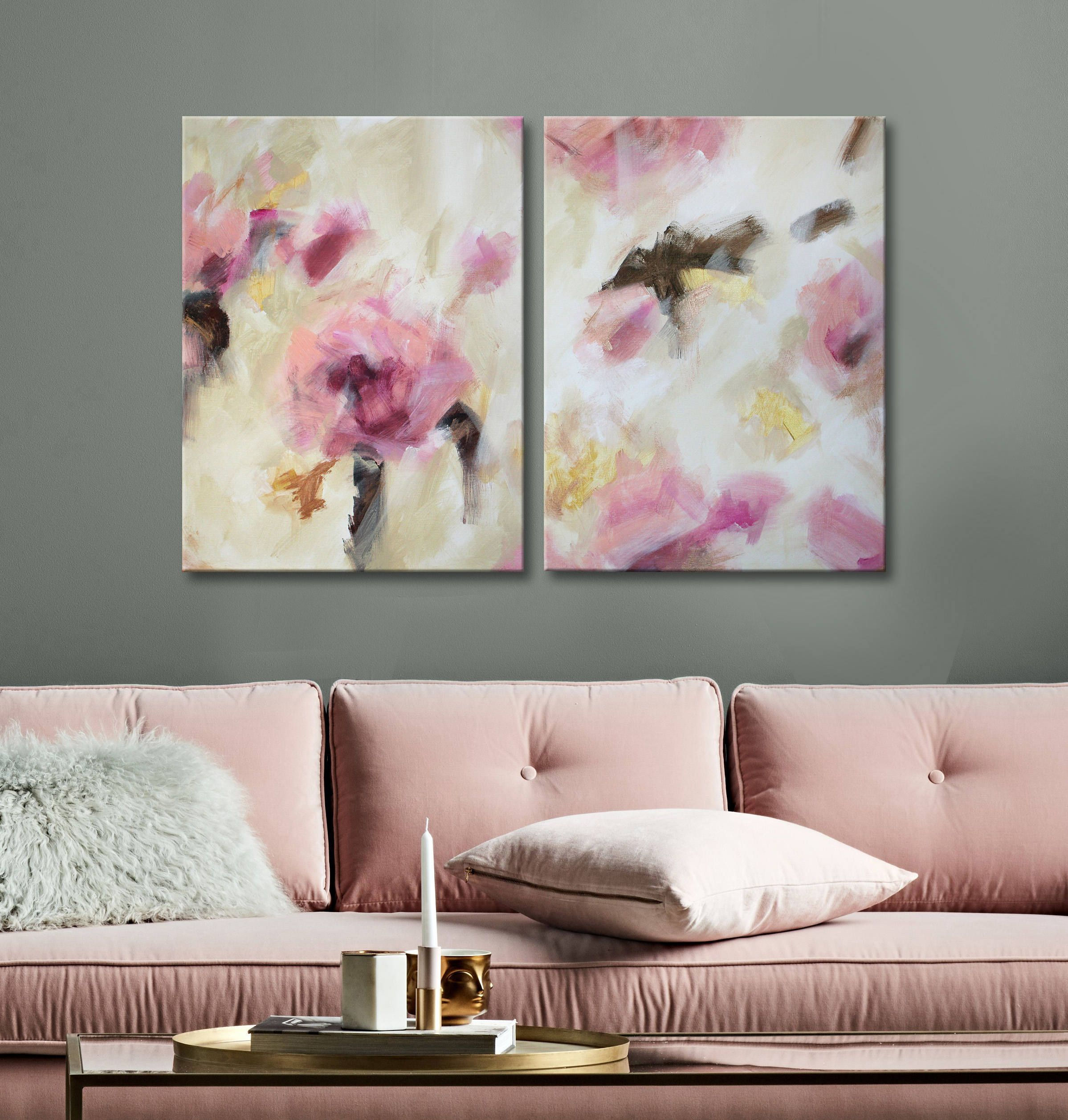 24x36 Two Piece Original Abstract Painting Large Dining Room Wall Art Wall Art Canvas Painting Gold Wall Decor