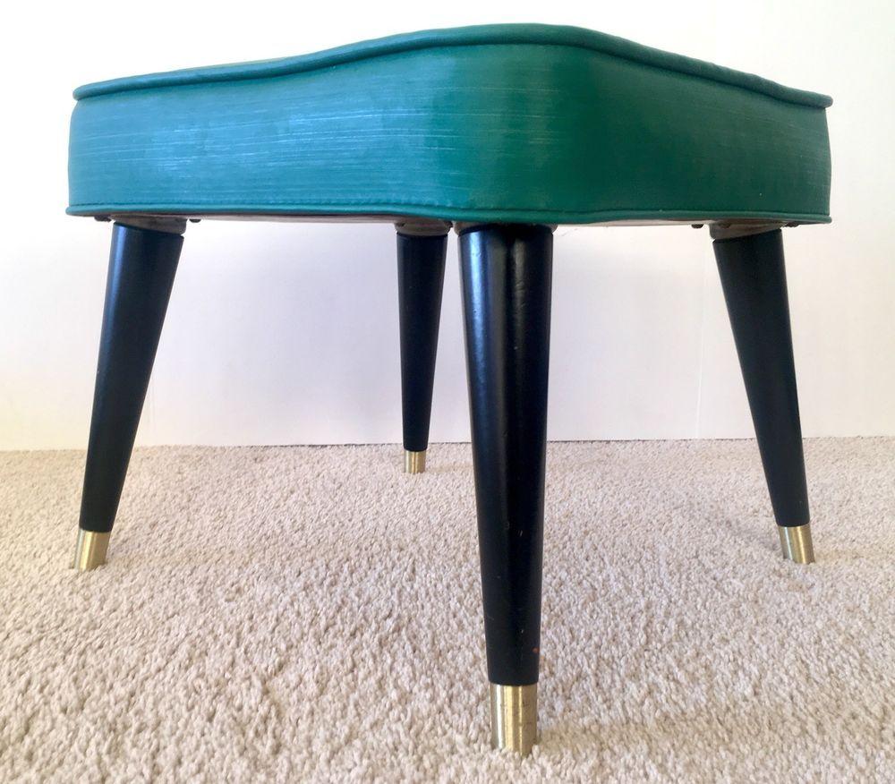 Foot Stool Ottoman Square Green Black Vintage Mid Century Modern Vinyl Danish Modern Footstool Home Decor Furniture Footstool