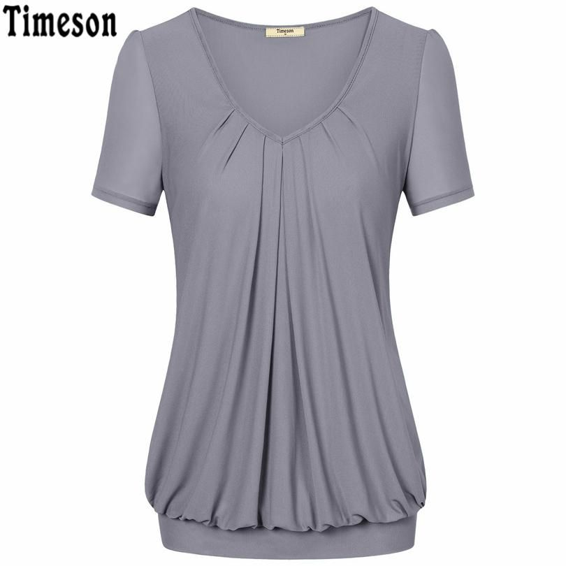 Summer Tops Women Short Sleeve V Neck Dressy Tunic