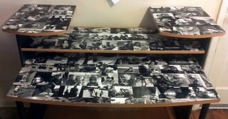 Photo Decoupaged Table. Doing this! With a small rectangular end table.