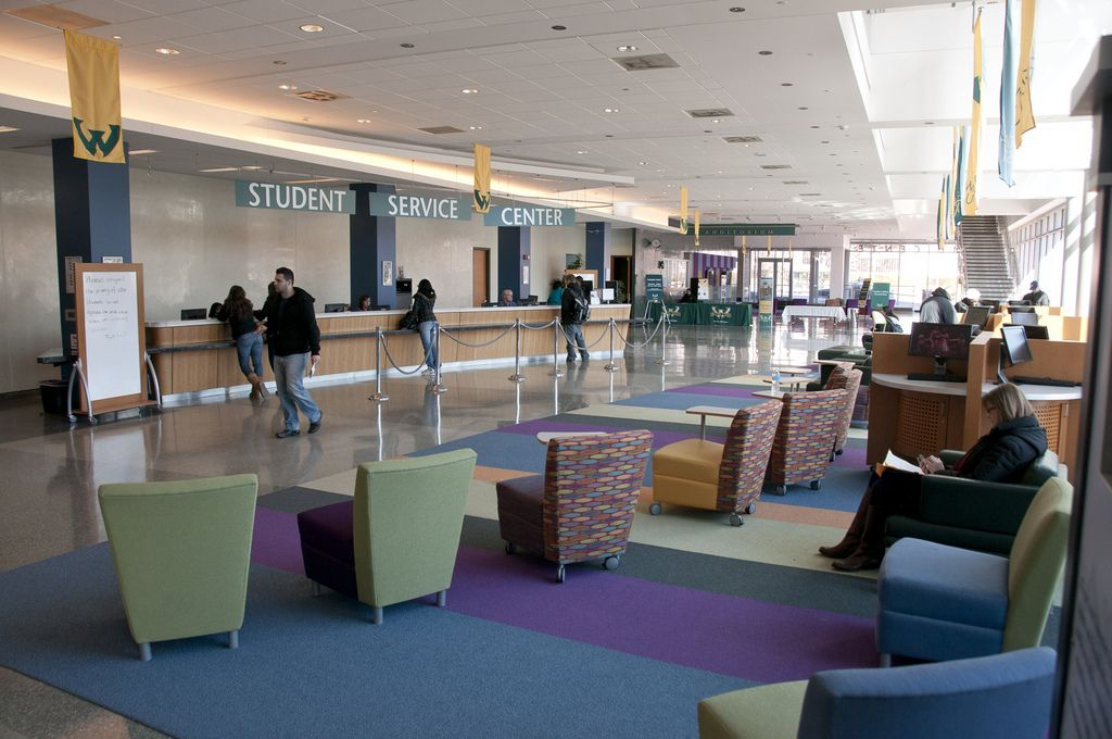 The Colorful Lobby Of Wayne State S Welcome Center With Images