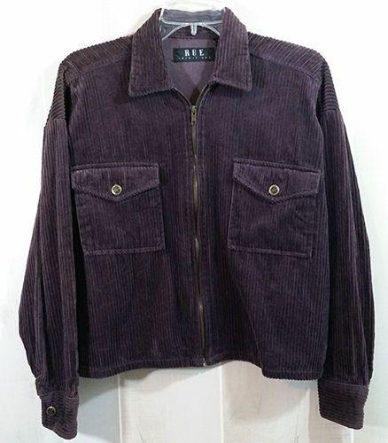 Womens Sz L Rue 21 Corduroy Jacket Plum Purple Zip Front Breast Pockets WC15 #rue21 #BasicJacket