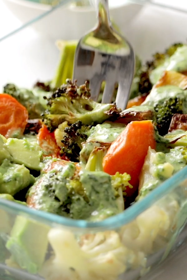 Roasted Vegetable Bowls with Green Tahini #meals