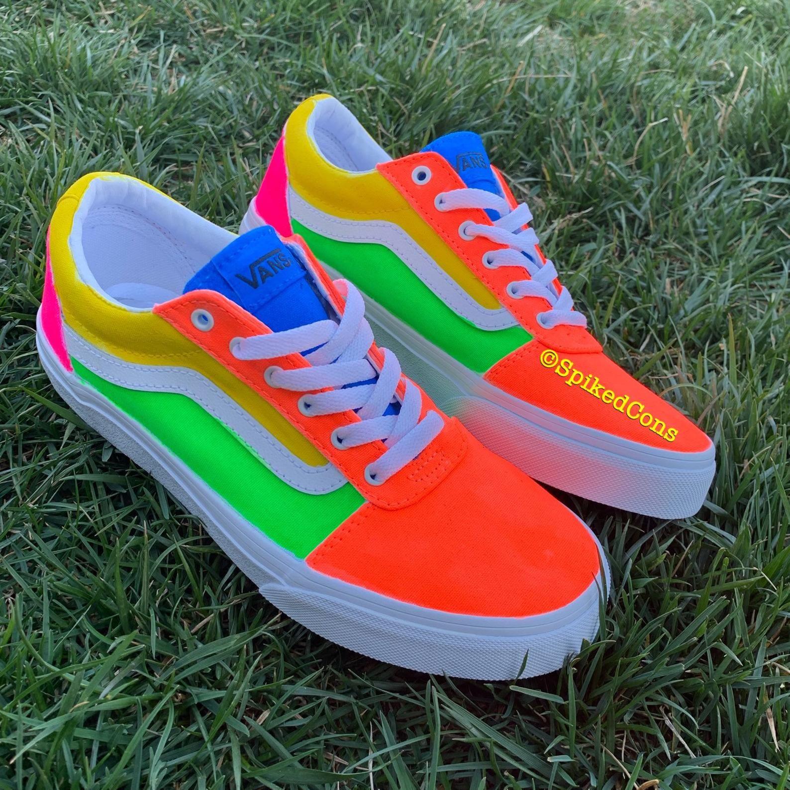 Neon vans, Neon shoes, Rainbow vans