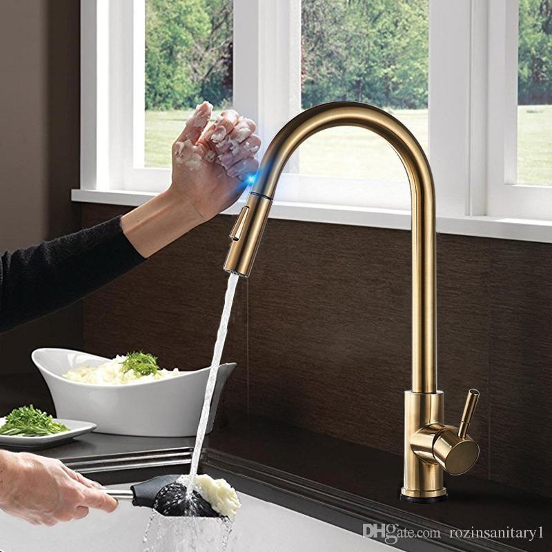 2019 Champagne Bronze Gold Sensor Kitchen Faucets Sensitive Smart