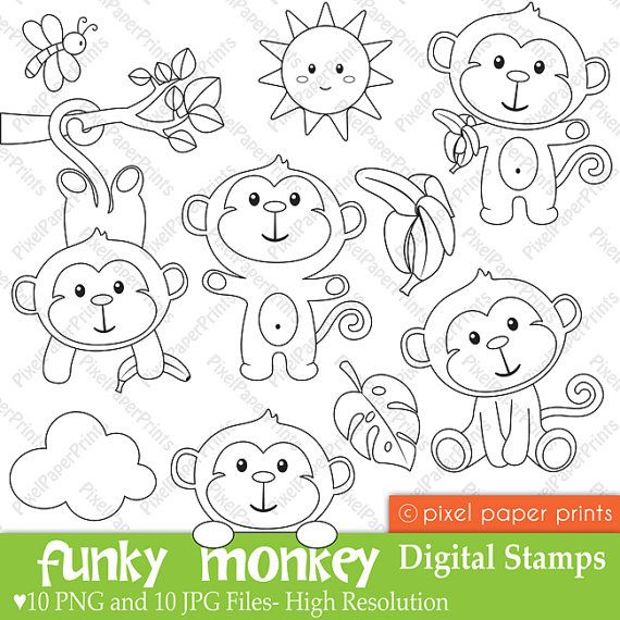 Funky Monkey - Digital Stamps | Dibujos lindos | Pinterest | Moldes ...
