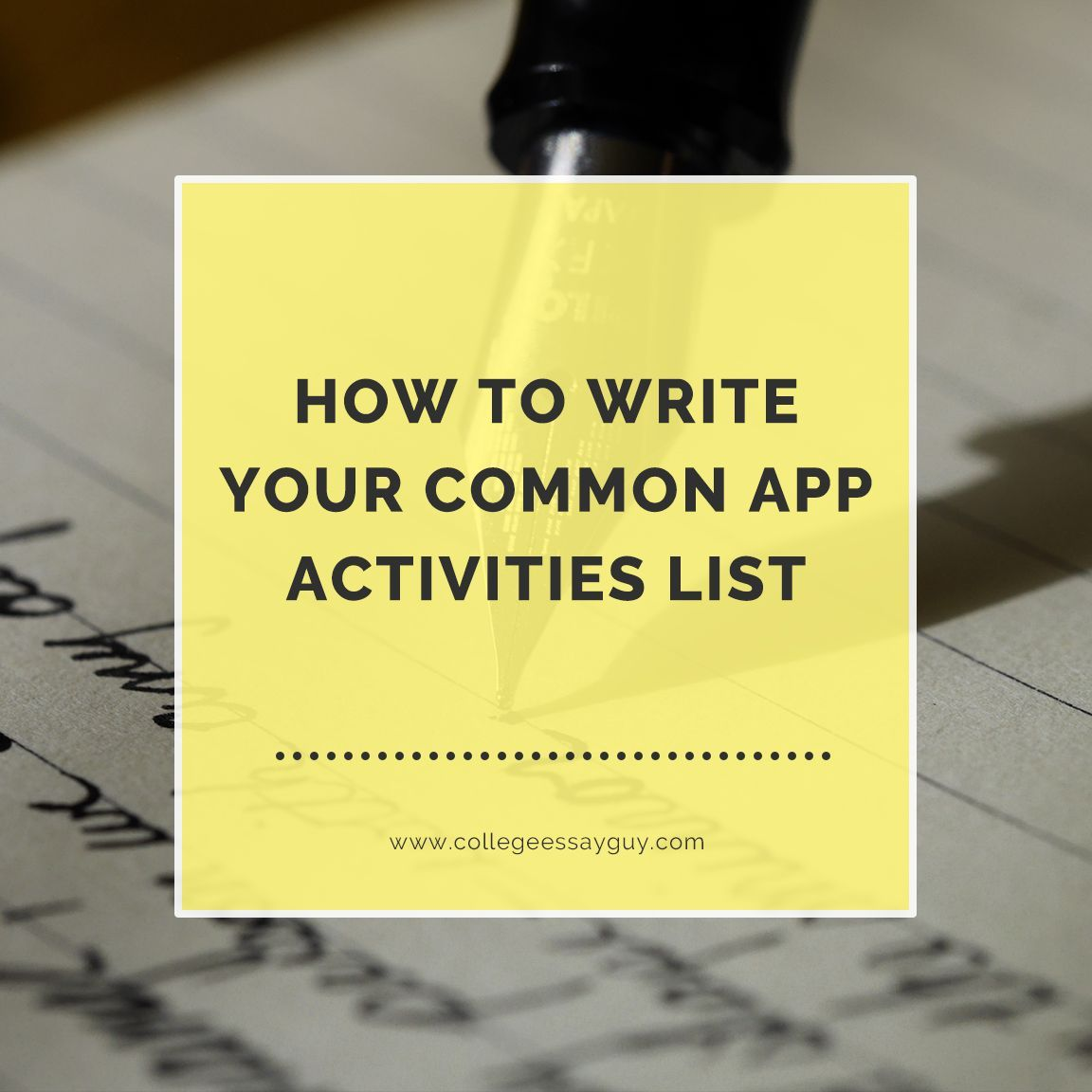 How to write your common app college activities list