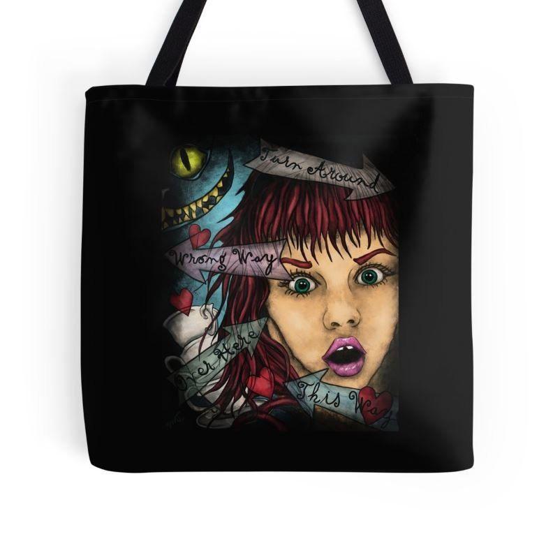nouveau style b72b1 7c653 Alice the Wonderland bag - Portrait Alice printed on bag in ...