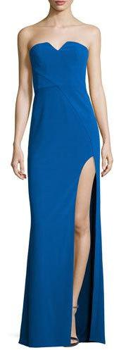 Halston Heritage Strapless Stretch Crepe Column Gown, Lapis