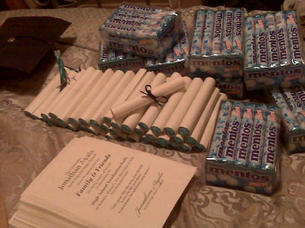graduation favors  thank you notes rolled up around mentos