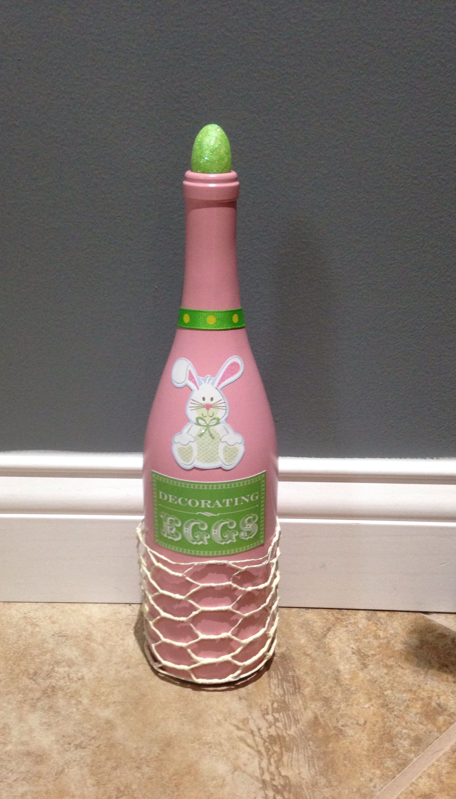 easter wine bottle decor diy chicken wire glitter egg pink green wine decorations. Black Bedroom Furniture Sets. Home Design Ideas