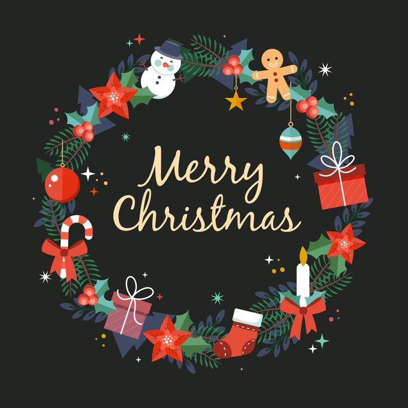 Merry Christmas Wreath Svg Dxf Eps Psd Png Jpg Etsy Merry Christmas Wishes Printable Christmas Cards Christmas Art