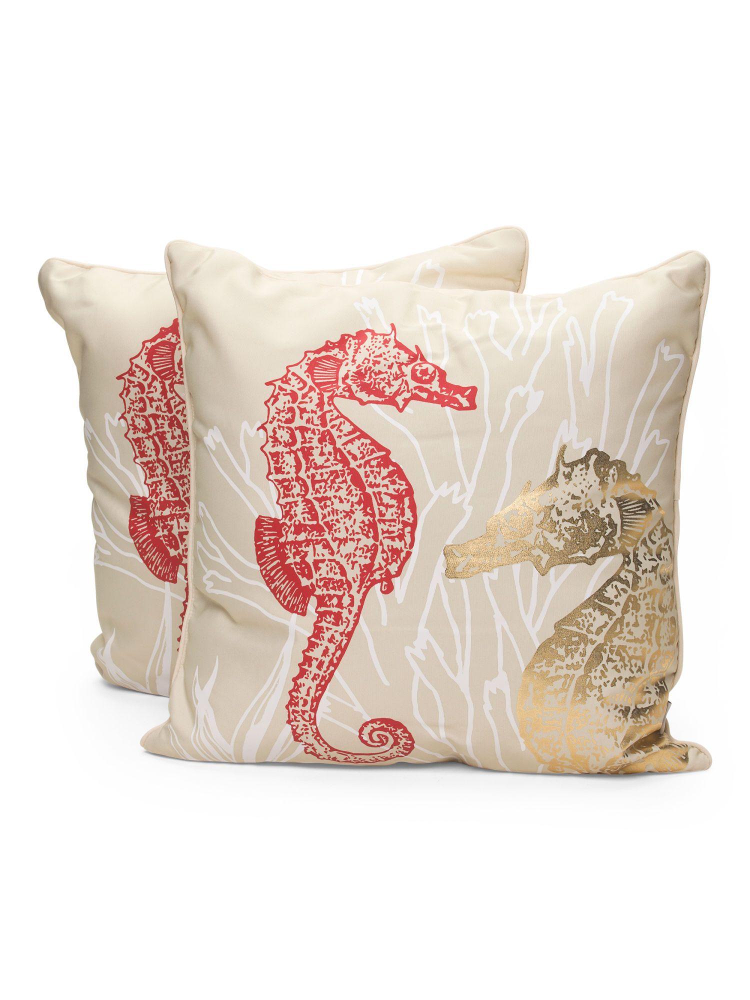 THRO BY MARLO LORENZ 2pk 20x20 Seahorse Outdoor Pillow 24