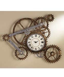 @Overstock.com - Turn the gears of artistic expression in your home or office with this unique decorative accessory Decorative art piece made of durable hand-painted metal Multiple gears motif with a rugged, industrial lookhttp://www.overstock.com/Home-Garden/Clock-and-Gears-Wall-Art/2403972/product.html?CID=214117 $118.99