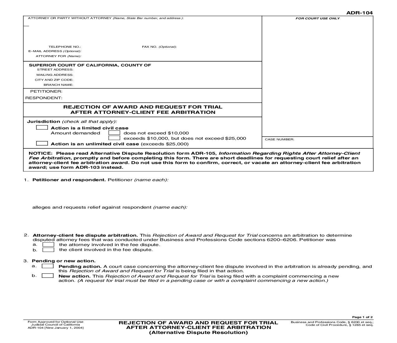 This is a California form that can be used for Alternative