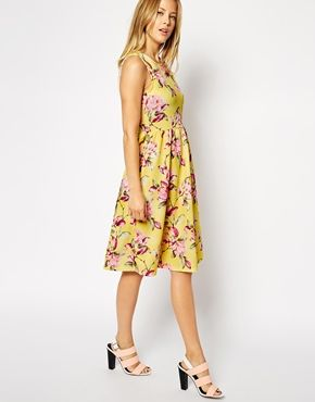 d903804bf6be Enlarge ASOS Textured Midi Skater Dress in Bright Floral Print ...