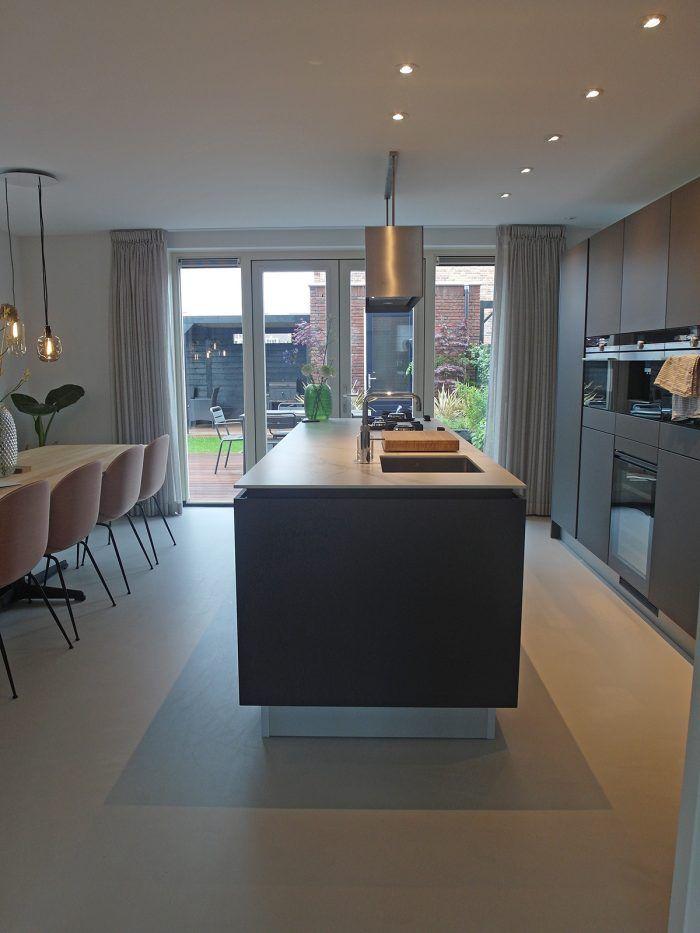 Populair Gietvloer woonkeuken marmer zwart grijs interieur   keuken in 2018 &NT38