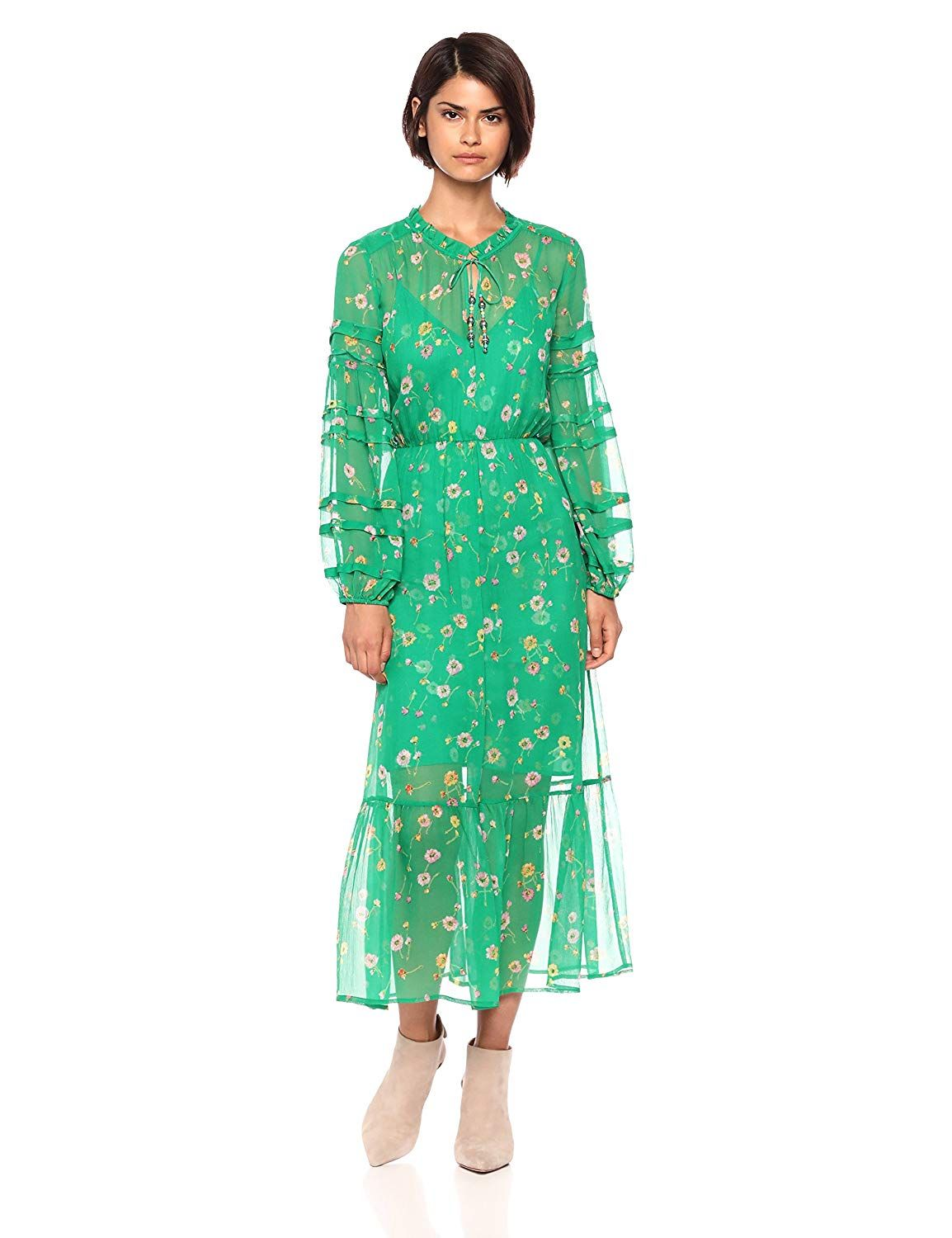 3b91ff46b80 The Kooples Women's Women's Floral V-Neck Sheer Maxi Dress with ...