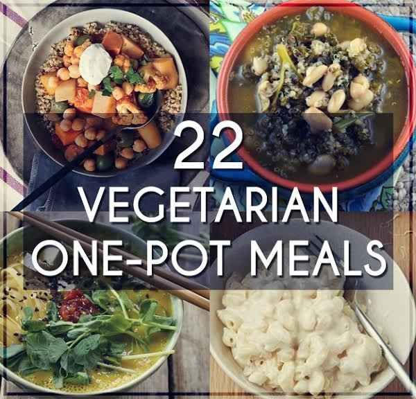 22 Easy One-Pot Meals With No Meat. Not all gluten free, but most would be easy to sub rice pasta etc.