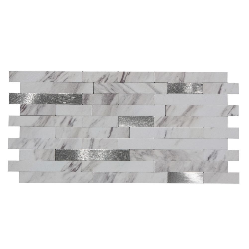Aspect 11 75 In X 12 In Metal And Composite Peel And Stick Backsplash In Marble Shine Ac005 The Home Depot In 2020 Peel N Stick Backsplash Elegant Backsplash Backsplash