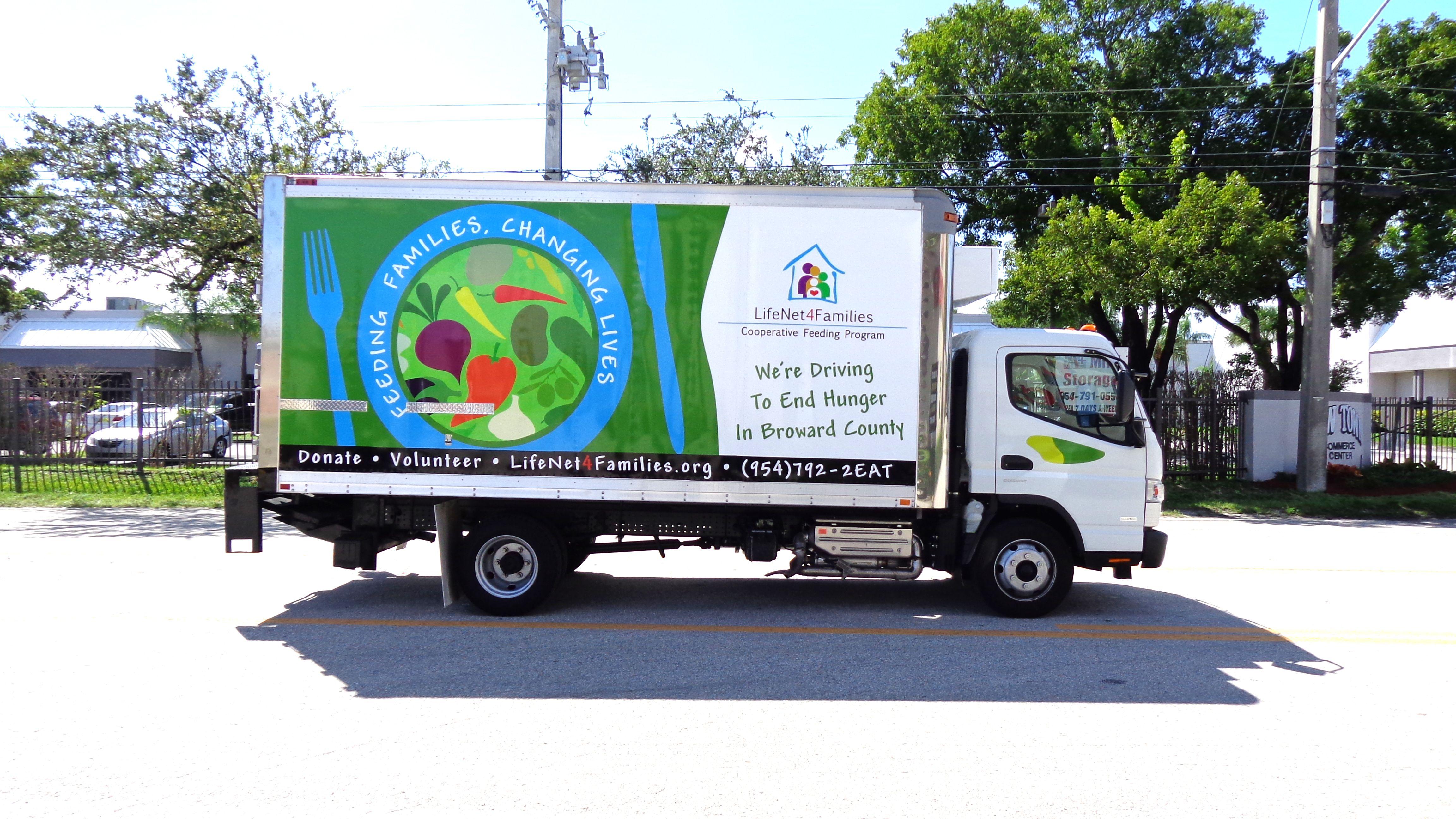 Fort lauderdale box truck vinyl vehicle wrap non profit life net 4 families http