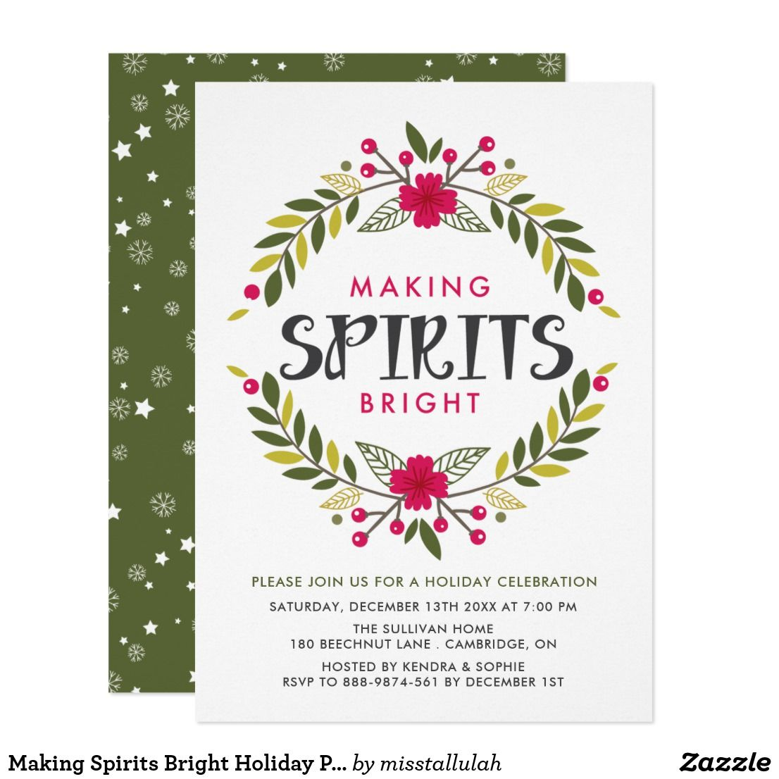 Making Spirits Bright Holiday Party Invitation | Holiday party ...