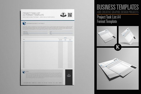 Project Task List A4 Format by Keboto on @creativemarket - task list format