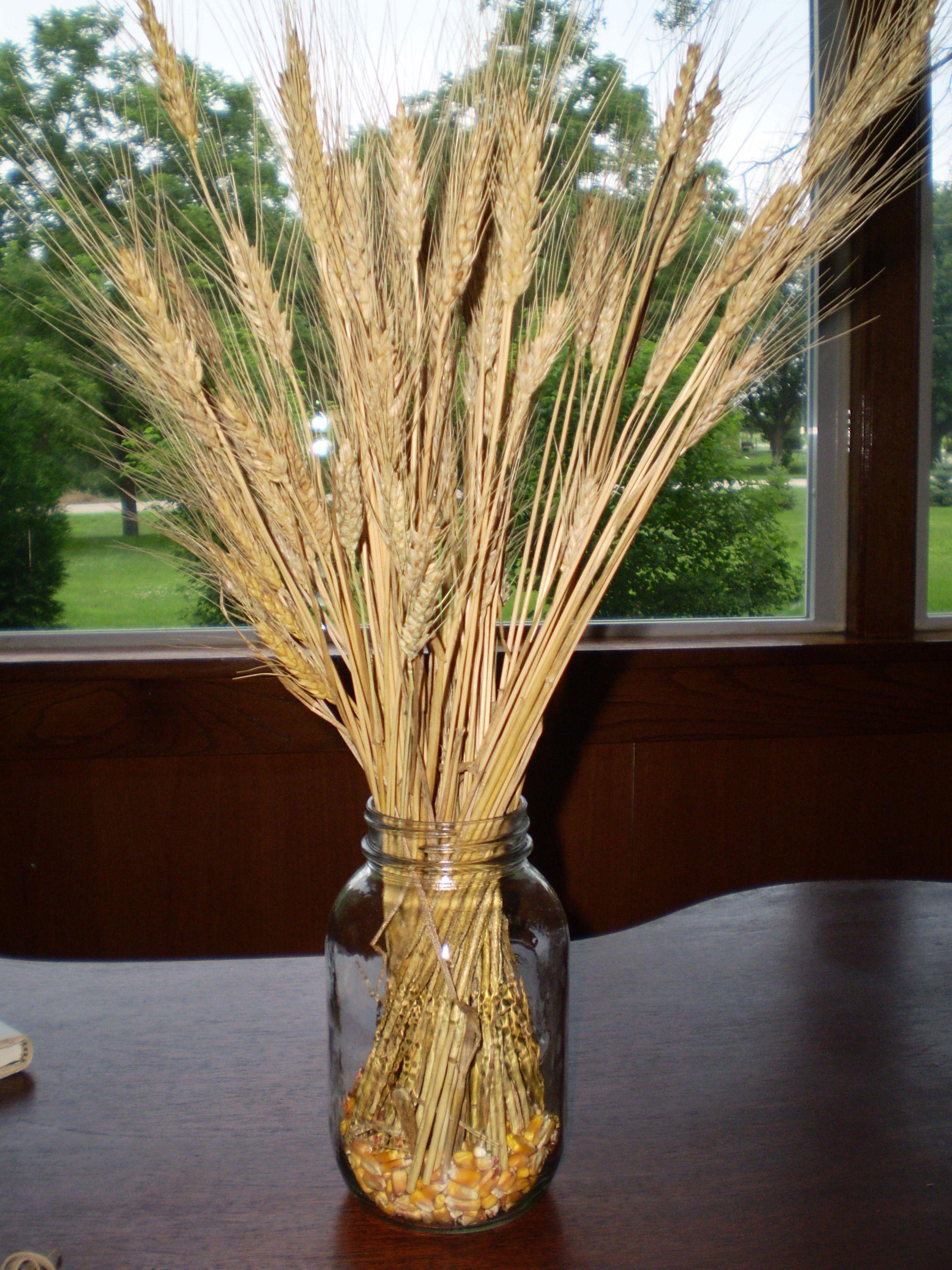 Fall mason jar candle ideas wedding wedding reception for Wheat centerpieces
