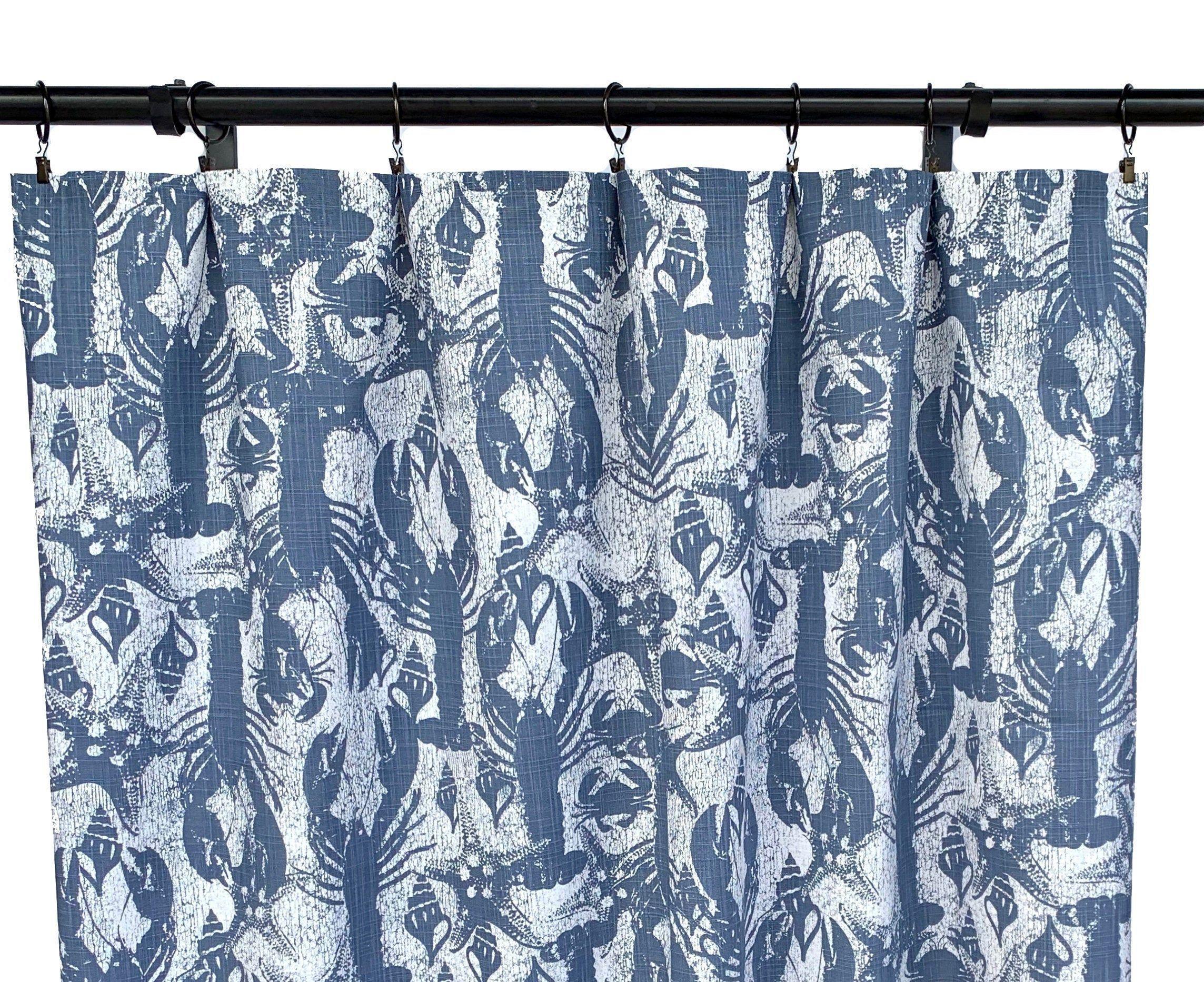 Navy Lobster Print Curtains Navy Blue Curtain Panels 2 Nautical
