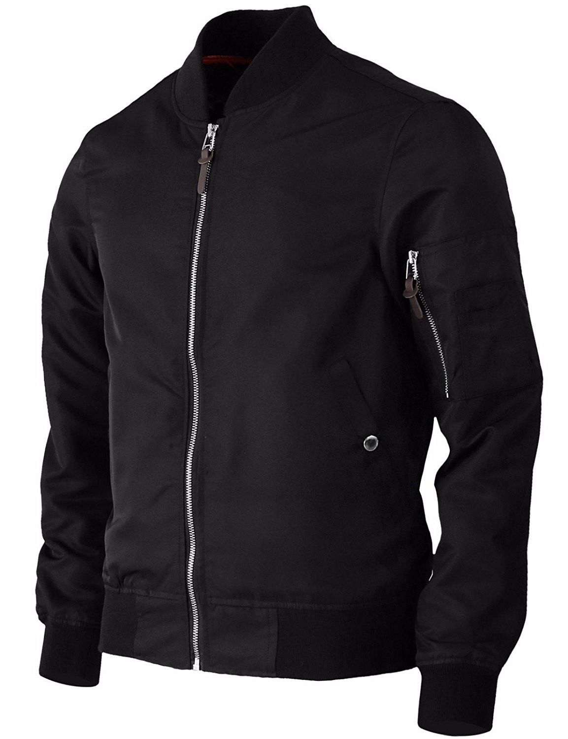 d96d0ff8d Men's Bomber Flight Jacket MA-1 Lightweight Windbreaker Zip Up ...