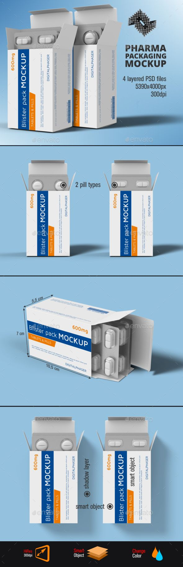Download Tablets Capsule Blister Pack Box Mockup Box Mockup Blister Pack Medicine Box Design