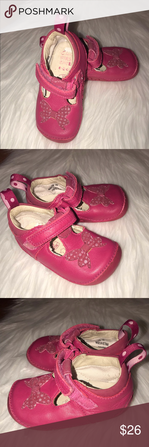 Infant Girls Leather T-Strap Shoes Size