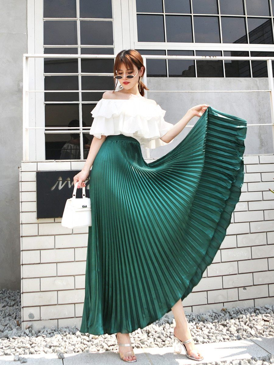 Summer Fashion Vintage Silver Golden Metal Solid Flared Maxi Skirt Pleated Long Skirt Flare Maxi Skirt High Waisted Skirt [ 1200 x 900 Pixel ]