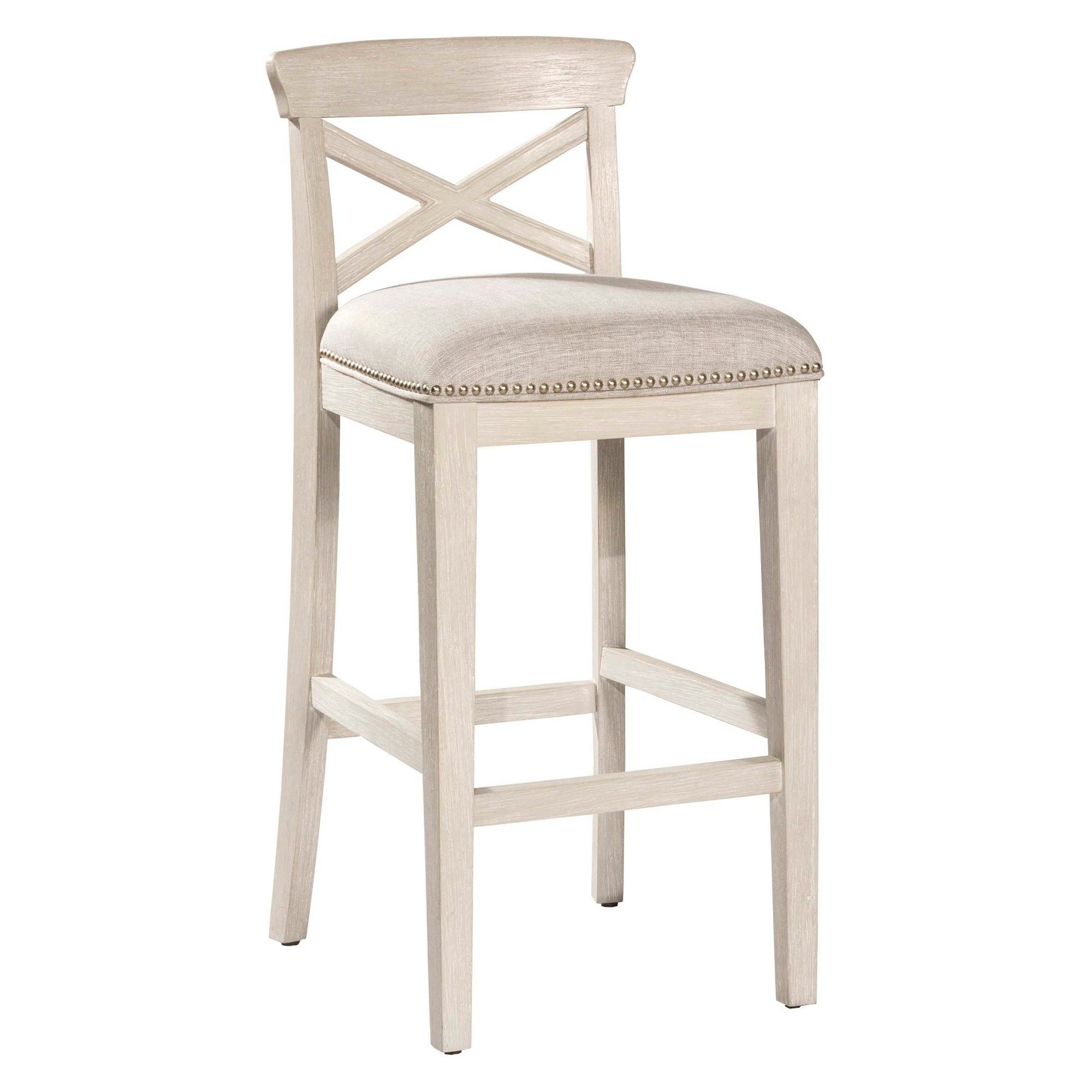 Set Of 2 30 Bayview Nonswivel Bar Stool White Silver Hillsdale