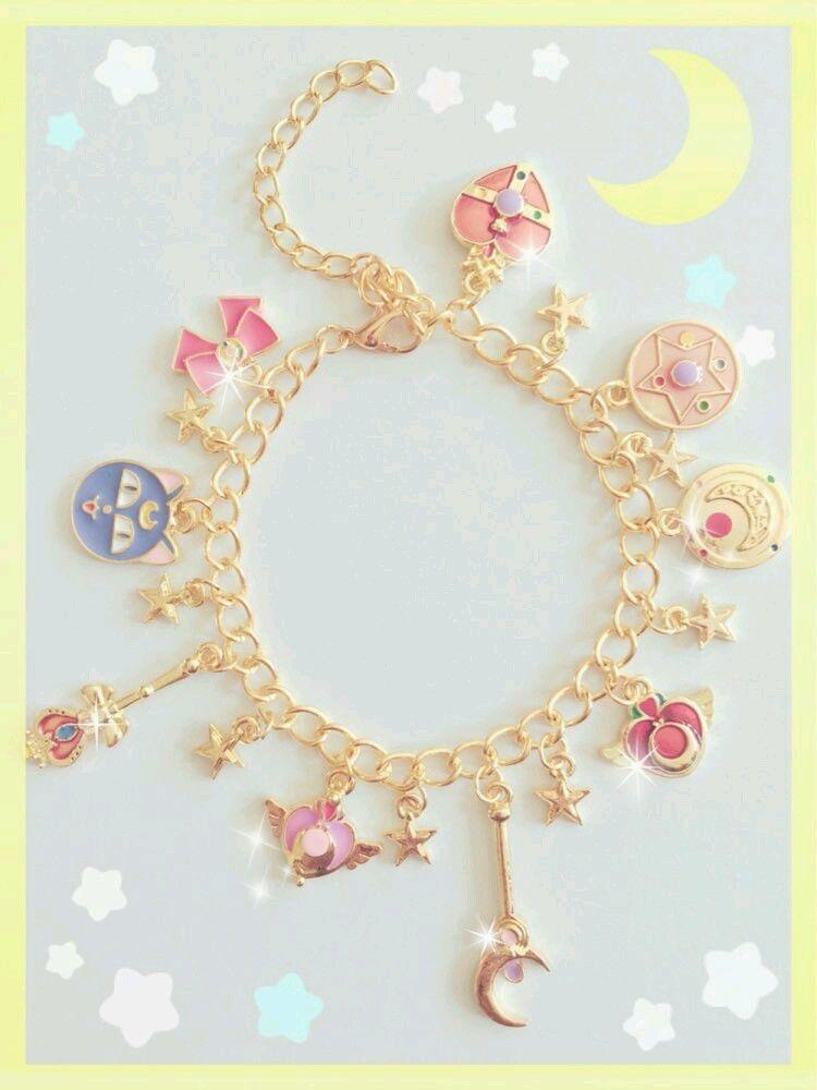 New Cute Sailor Moon Power Charm Bracelet Kawaii Cosplay Anime Fashion Harajuku