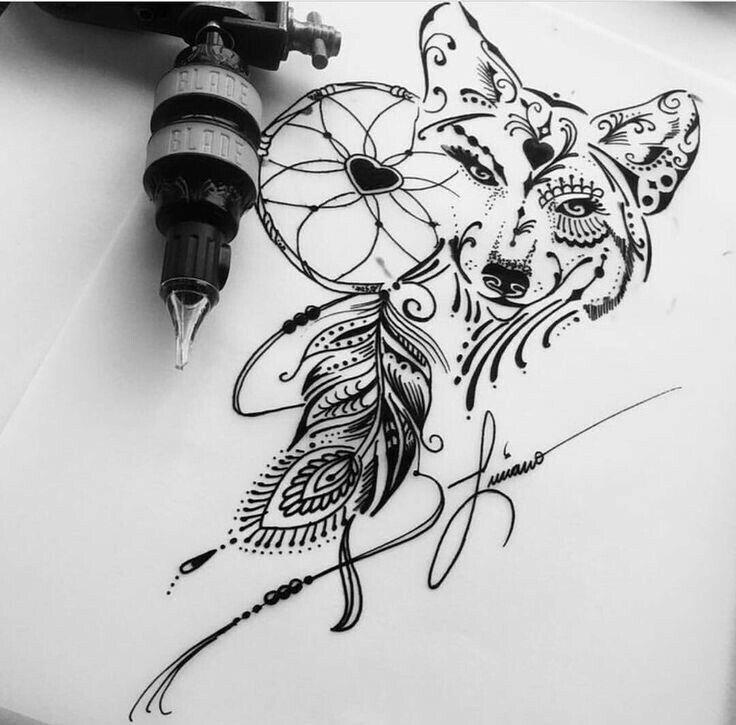 Wolf Dreamcatcher Unique Tattoos Trendy Tattoos Tattoos