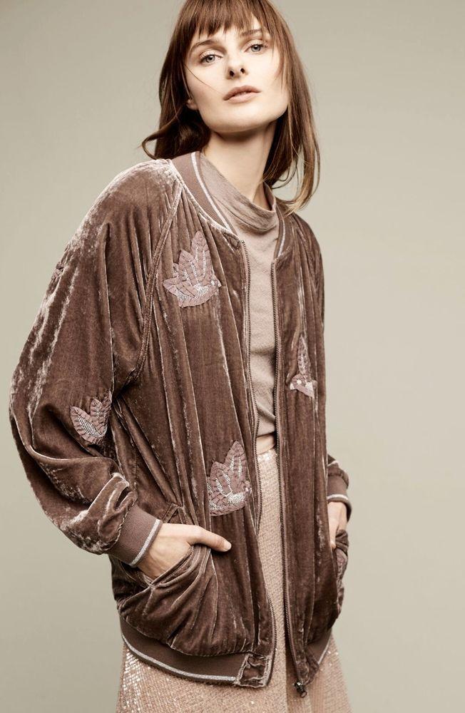 NWT Anthropologie Hei Hei taupe Velvet Bird Embroidered Baseball Zip Jacket S #HeiHei #embroideredbaseballjacket #versatile