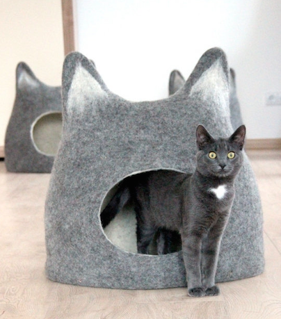 cat cave grey bed