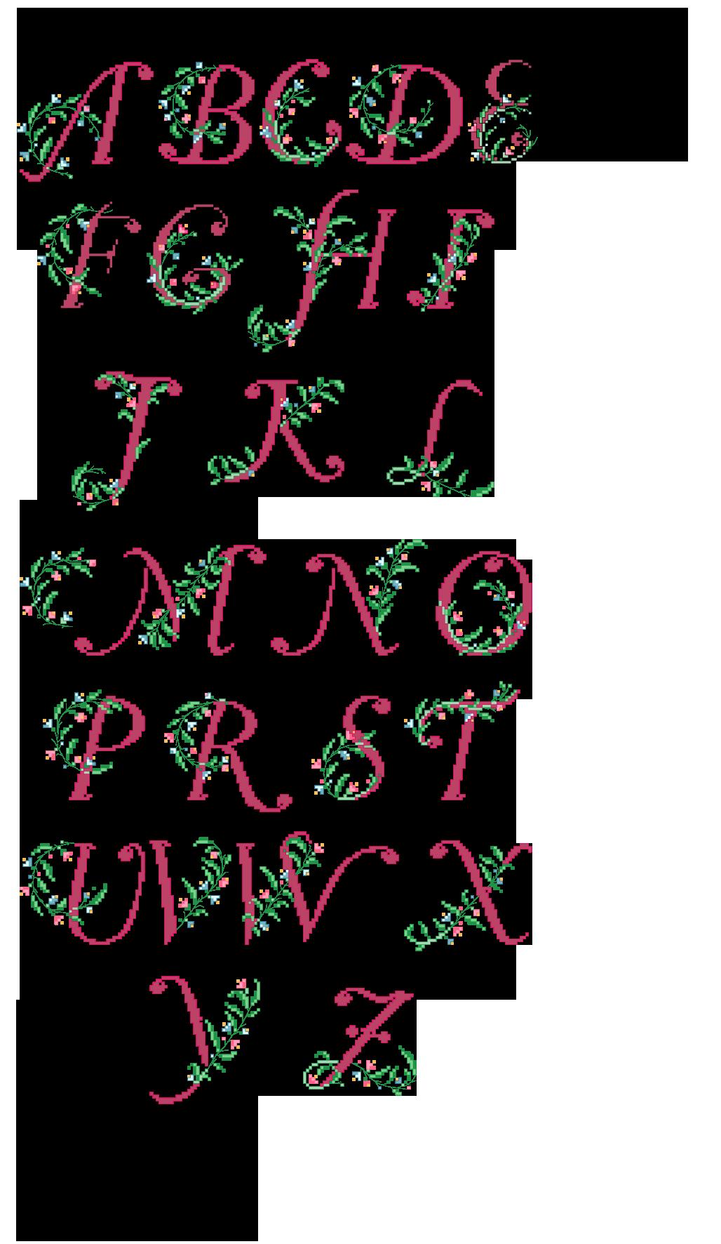 Alfabeto rosa antico con rametto di fiori