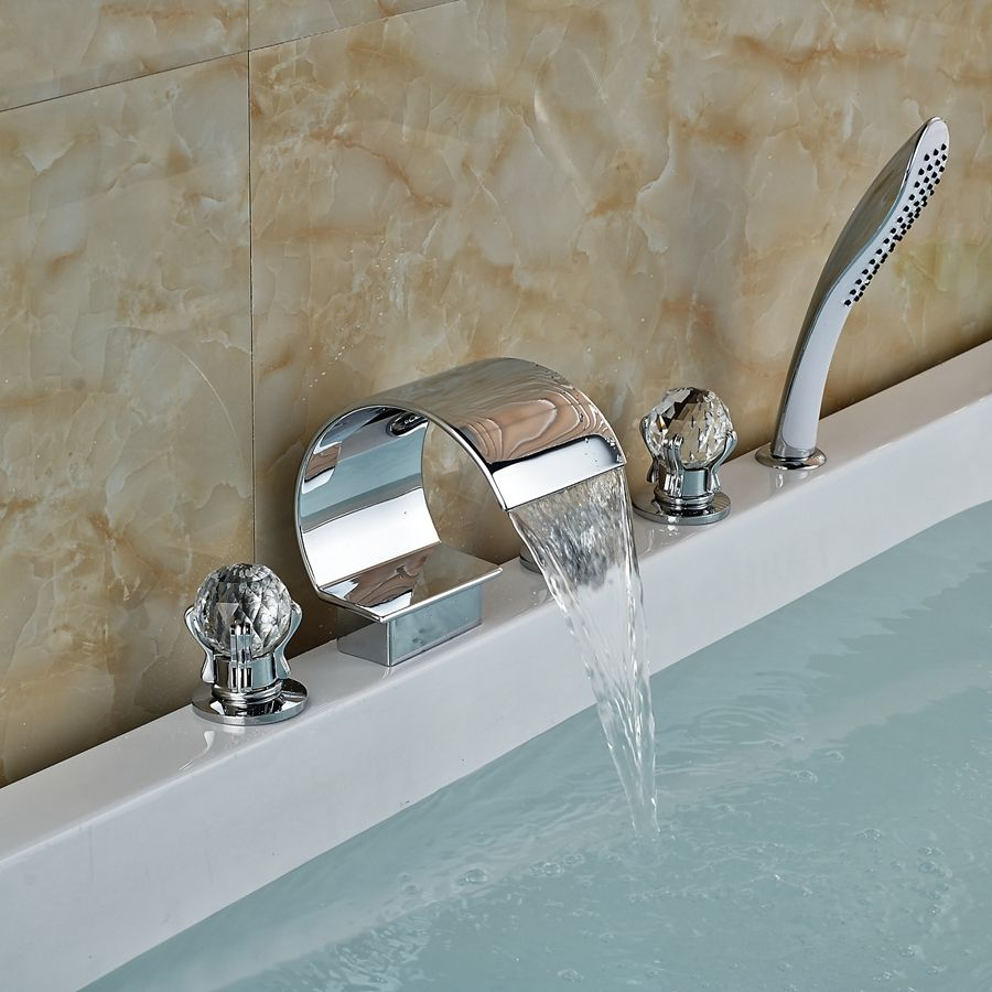 Luxury Crystal Handles Widespread Bathroom Tub Faucet W/ Pull Out ...
